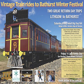 Vintage Train rides to Bathurst Winter Festival
